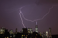 Lightning near One World Trade Center during a heavy thunderstorm over Manhattan on July 23, 2014