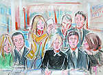 ARTWORK SHOWS: Heather Mills throwing water over Fiona Shakleton, lawyer for Sir Paul McCartney, at their divorce hearing, held at the High Court, London.