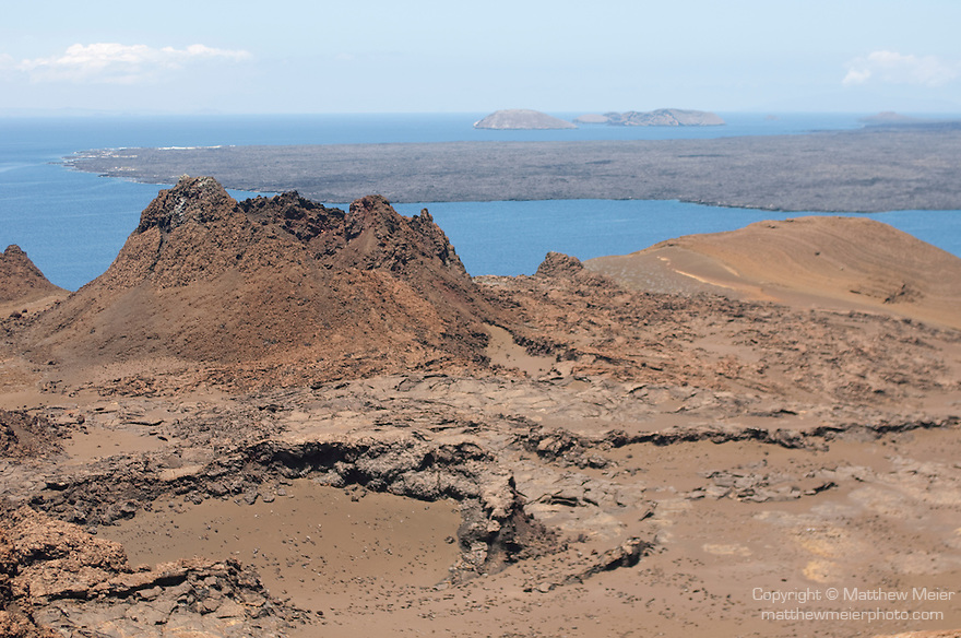 Bartolome Island, Galapagos, Ecuador; remnants of spatter cone lava on Bartolome island, looking east from the path leading to the summit , Copyright © Matthew Meier, matthewmeierphoto.com All Rights Reserved