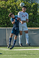 NWA Democrat-Gazette/ANTHONY REYES @NWATONYR<br />Luis Garcia (23) of Springdale heads the ball as Gerardo Tavarez (8) of Springdale Har-Ber defends Tuesday, April 18, 2017 at Jarrell Williams Bulldog Stadium in Springdale.