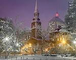 Nighttime snowstorm in the Boston Public Garden, Boston, MA, USA