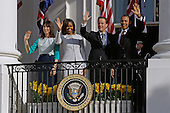 (R-L) U.S. President Barack Obama, British Prime Minister David Cameron, U.S. first lady Michelle Obama and Samantha Cameron wave from a balcony during in an official arrival ceremony on the South Lawn of the White House March 14, 2012 in Washington, DC. Prime Minister Cameron is on a three-day visit to the U.S. and he is expected to have talks with Obama on the situations in Afghanistan, Syria and Iran. .Credit: Chip Somodevilla / Pool via CNP