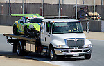 Monterey California, May 4, 2014, Laguna Seca Monterey Grand Prix, damaged Porsche on truck returning to paddock.
