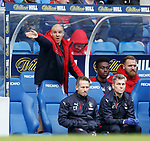 Phillipe Senderos directing the players from his seat in the dugout