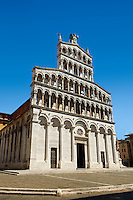 10th century Romanesque San Michele in Foro is a Roman Catholic basilica church in the old Roman Forum of Lucca, Tunscany, Italy