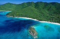 Aerial view of  Cinnamon Bay<br /> Virgin Islands National Park<br /> St. John<br /> U.S. Virgin Islands
