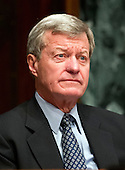 United States Senator Max Baucus (Democrat of Montana), Chairman, U.S. Senate Finance Committee listens to the testimony U.S. Secretary of Health and Human Services (HHS) Kathleen Sebelius during a hearing on the agency's FY 2013 budget proposal on Capitol Hill in Washington, D.C. on Wednesday, February 15, 2012..Credit: Ron Sachs / CNP