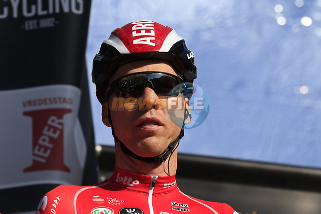Marcel Sieberg (GER) Lotto-Soudal on stage at sign on before the start of Gent-Wevelgem in Flanders Fields 2017, running 249km from Denieze to Wevelgem, Flanders, Belgium. 26th March 2017.<br /> Picture: Eoin Clarke | Cyclefile<br /> <br /> <br /> All photos usage must carry mandatory copyright credit (&copy; Cyclefile | Eoin Clarke)