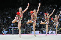 September 25, 2011; Montpellier, France;  Bulgaria group performs with 5-balls routine at 2011 World Championships Montpellier. Photo by Tom Theobald.