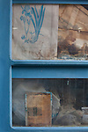 Window of abandoned Herbalist Shop, Rethymno, Crete owned, apparently, by Panajiotis and or Dimitrios Kontogianis.