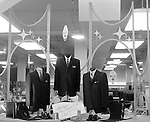 Pittsburgh PA: View of Christmas in store display at Horne's department store in downtown Pittsburgh. Men's suits and accessories surrounded by a steel display during the Rhapsody of Steel campaign.  US Steel launched an awareness campaign of all the current uses of steel in everyday products.  During this time, ALCOA Aluminum Company of America also headquartered in Pittsburgh, was aggressively competing to enter markets where US  steel companies traditional dominated market share. Examples included beer and food Cans, appliances, automobile parts, children toys / bicycles, and more.