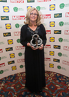 19/05/2015 <br /> Paula Kerr with her award <br /> during the Irish mirror pride of Ireland awards at the mansion house, Dublin.<br /> Photo: gareth chaney Collins