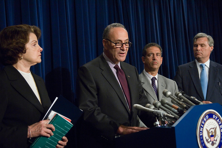 """WASHINGTON - July 26: Sen. Dianne Feinstein, D-Calif., Sen. Charles E. Schumer, D-N.Y., Sen. Russ Feingold, D-Wis., and Sen. Sheldon Whitehouse, D-R.I., during a news conference announcing that they are asking the Justice Department to appoint a special prosecutor to investigate whether Attorney General Alberto R. Gonzales lied under oath to Congress. The quartet is convinced that Gonzales has repeatedly committed perjury in congressional testimony, most recently during a July 24 appearance before the Judiciary panel. """"His instinct is not to tell the truth, but to dissemble and deceive,"""" Schumer said. The lawmakers have asked Solicitor General Paul D. Clement, the highest-ranking Justice Department official not recused from matters involving the firings of nine U.S. attorneys last year, to name a special counsel from outside the department to investigate Gonzales. (Photo by Scott J. Ferrell/Congressional Quarterly)."""