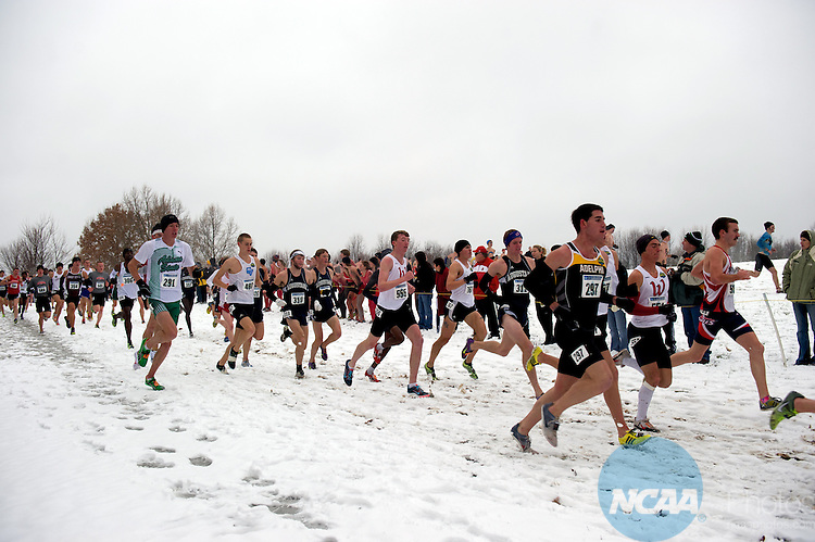 """04 DEC 2010:  Runners compete during the Division II Men's Cross Country Championship held at E.P. """"Tom"""" Sawyer State Park in Louisville, KY.  Josh Duplechian/NCAA Photos"""