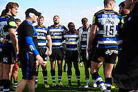 Bath Rugby players huddle together after the match. Aviva Premiership match, between Bath Rugby and Sale Sharks on April 23, 2016 at the Recreation Ground in Bath, England. Photo by: Patrick Khachfe / Onside Images