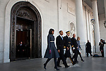 President Barack Obama, Michelle Obama, Vice President Joe Biden, and Jill Biden leave the US Capitol after the inauguration, January 21, 2013 in Washington, D.C.