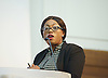 Sadia Khan addresses the first Knife Crime Summit <br /> London 2016 <br /> MOPAC <br /> at Friend's Meeting House, London, Great Britain <br /> 13th October 2016 <br /> <br /> <br /> <br /> Yvonne Lawson - founder of Godwin Lawson Foundation <br /> whose son was killed in a knife attack in Stamford Hill in March 2010. <br /> <br /> <br /> <br /> Photograph by Elliott Franks <br /> Image licensed to Elliott Franks Photography Services