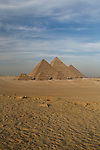 The Pyramids of Giza near Cairo, Egypt.