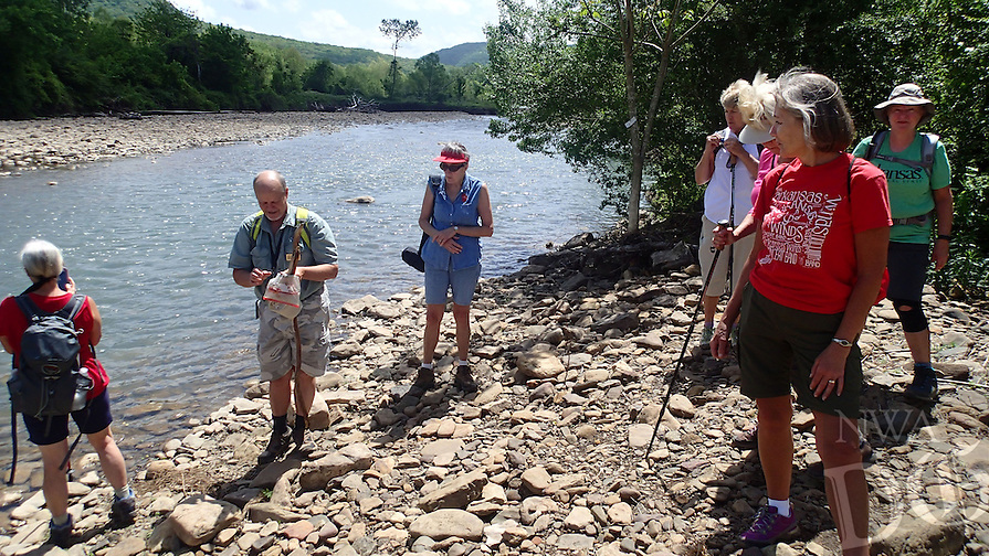 NWA Democrat-Gazette/FLIP PUTTHOFF <br /> A side hike to Frog Bayou   April 27, 2016 was a scenic lunch stop. Hikers heading east on the Ozark Highlands Trail must cross Frog Bayou to continue the route that runs 200 miles across northern Arkansas.