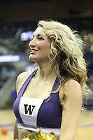 December 29, 2013:  Washington cheerleader Emily Borg-Leon entertained fans during the game against Hartford.  Washington defeated Hartford 73-67 at Alaska Airlines Arena in Seattle, Washington.