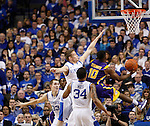 UK guard Jarrod Polson blocks a shot by LSU guard Andre Stringer during the second half of the men's basketball game vs. LSU at Rupp Arena, in Lexington, Ky., on Saturday, January 26, 2013. Photo by Genevieve Adams  | Staff.