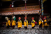 "Buddhist monks perform at the Hemis Monastery (gompa) of the Drukpa Lineage, located in Hemis, 45 kms away from Leh in Ladakh. ..His Holiness the Twelfth Gyalwang Drukpa, the head of the Drukpa Lineage (proponents of the Mahayana Buddhist tradition) ended his ""Walking On The World's Rooftop"" Pad Yatra from Manali to Hemis Monestary in Ladakh."