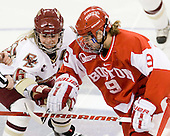 Kelli Stack (BC - 16), Jenn Wakefield (BU - 9) - The Boston College Eagles defeated the Boston University Terriers 2-1 in the opening round of the Beanpot on Tuesday, February 8, 2011, at Conte Forum in Chestnut Hill, Massachusetts.