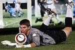 11 November 2005: Clemson goalkeeper Phil Marfuggi slides to keep a loose ball from crossing the end line. The University of North Carolina defeated Clemson University 2-0 at SAS Stadium in Cary, North Carolina in a semifinal of the 2005 ACC Men's Soccer Championship.