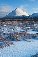 Snow covered Glamaig - Sgurr Mhairi, Red Cuillin Hills, Isle of Skye, Scotland