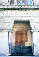 Portland: The Dekum Building--detail.  Richardsonian Romanesque style.  Architects McCaw, Martin & White. Photo '86.