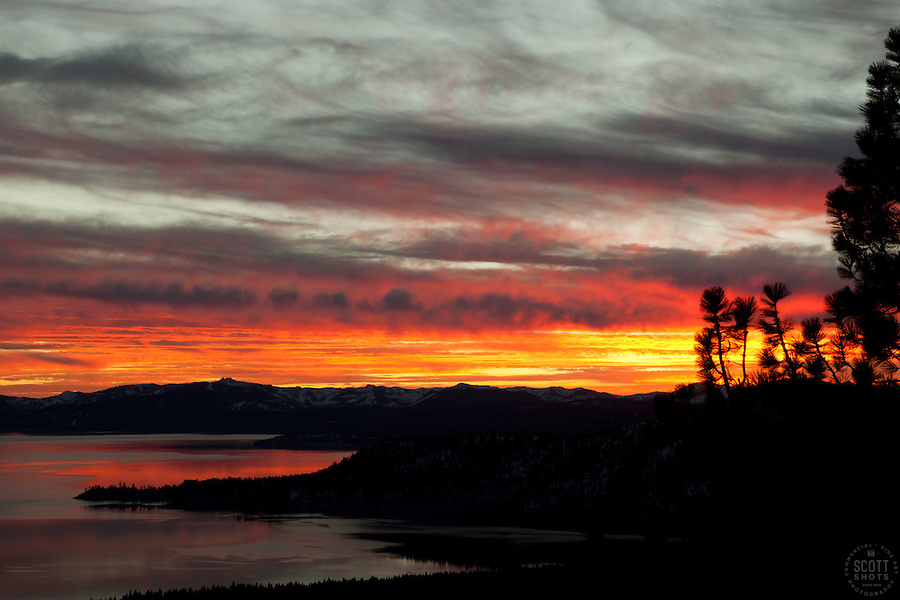 """Sunset at Lake Tahoe 20"" - This orange and yellow sunset at Lake Tahoe was photographed from the vista point on Hwy  431, or Mount Rose Highway."