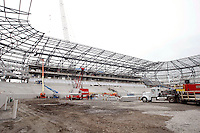 An interior view of Red Bull Arena during the topping off ceremony at Red Bull Arena in Harrison, NJ, on April 14, 2009.