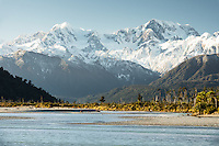 Gillespies Beach and Cook River with Southern Alps, Mount Cook and Mount Tasman in background, Westland Tai Putini National Park, UNESCO World Heritage Area, West Coast, New Zealand, NZ