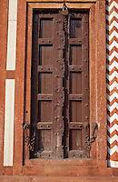 Agra, India.  Doorway and Locks in North Pavilion, Itimad-ud-Dawlah.