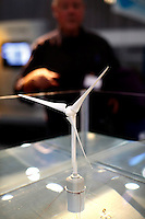 "Model of wind turbine in water. Renewable sources will be helping to meet the world's demand for energy in the future. This development opens new markets and opportunities for business. Hoping to make ""green business"" and ""green profit"" over 60 exhibitors took part in the The North European Renewable Energy Convention (Nerec) , in Norway, presenting their solutions for renewable energy in the future. .© Fredrik Naumann/Felix Features"