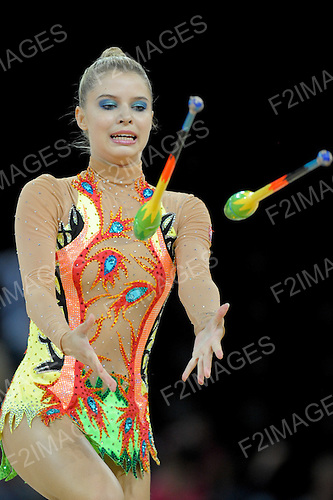 Rhythmic World Championships Montpelier France 21.9.11. Individual Competition ribbon & Clubs.Jana DUCHNOVSKA