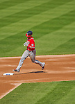 20 April 2013: Washington Nationals outfielder Bryce Harper rounds the bases after hitting a two-run home run in the third inning against the New York Mets at Citi Field in Flushing, NY. Harper went 3 for 3 with 3 RBIs and two home runs as the Nationals defeated the Mets 7-6 to tie their 3-game series at one a piece. Mandatory Credit: Ed Wolfstein Photo *** RAW (NEF) Image File Available ***