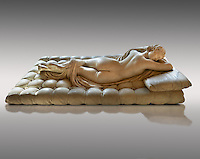 "Sleeping Hermaphroditus.  A Life size ancient 2nd century AD Roman statue sculpted in Greek Marble and found in the grounds of Santa Maria della Vittoria, near the Baths of Diocletian, Rome. It was added to the Borghese Collection by Cardinal Scipione Borghese, in the 17th century and was named the ""Borghese Hermaphroditus"". It was later sold to the occupying French and was removed it to The Louvre. Hermaphrodite, son of Hermes and Aphrodite had repels the advances of the nymph Salmacis. However, she got Zeus as their two bodies are united in a bisexual being. The Sleeping Hermaphroditus has been described as a good early Imperial Roman copy of a bronze original by the later of the two Hellenistic sculptors named Polycles (150 BC) the original bronze was mentioned in Pliny's Natural History. In 1619  Bernini sculpted the mattress on which the ancient marble of Hermaphrodite lies. Louvre Museum, Paris"