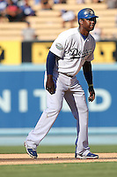 08/26/12 Los Angeles, CA: Los Angeles Dodgers shortstop Hanley Ramirez #13 during an MLB game played between the Los Angeles Dodgers and the Miami Marlins at Dodger Stadium. The Marlins Defeated the Dodgers 6-2