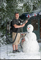BNPS.co.uk (01202 558833)<br /> Pic: PhilYeomans/BNPS<br /> <br /> Who ya gonna call - It only takes seconds to convert a sunny day into a blizzard with the speacilist kit the company has developed.<br /> <br /> Staff are celebrating their success in the way only they can...by turning a warm september day into a Xmas snow scene in seconds.<br /> <br /> The worlds biggest producer of snow is celebrating after another bumper year in which they have supplied the film and television industry with the white stuff from the unlikely headquarters near Stroud in Gloucestershire.<br /> <br /> The tiny British company are the first port of call for Hollywood producers when the on screen temperature drops and they can't wait on the weather - Recent credits include Maleficent, Snow White and the Huntsman and Philomena.<br /> <br /> Homegrown favourites like Dr Who and Downton are also customers, owner Darcy Crownshaw claims 'Everywhere you go the snow you see will probably be ours, from Harrods and Selfridges shop windows to the adverts and programmes on your television and films at the cinema.'