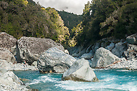 Scenic and wild Perth River with huge boulders and tramper, South Westland, West Coast, South Westland, New Zealand
