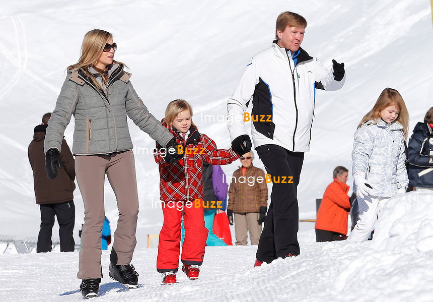 PRINCE OF ORANGE WILLEM-ALEXANDER WITH WIFE PRINCESS MAXIMA & THEIR 3 GIRLS  /February 18, 2013-Lech (Austria)-Prince of Orange Willem-Alexander, his wife Princess Maxima of Netherlands, their 3 girls Catharina-Amalia, Hereditary Princess of Orange, Princess Alexia and Princess Ariane with the Queen Beatrix of the Netherlands are together in Lech (Austria) their favourite holiday destination !.The princesses were happy to join their parents, Queen Beatrix arrived in Lech on Monday; her youngest son Constantijn and his wife Laurentien and their children are also in Lech. .The family enjoyed a sunny day and spent a lovely time together.