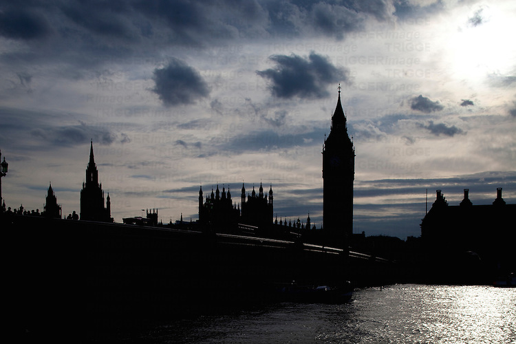 The river Thames and the Big Ben silhouette, London, England, United Kingdom