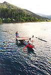 The Welcome Canoe from Kamiali Guest House, Papua New Guinea.  //  Kamiali Guest House is entry to the Kamilali Wildlife Management Area (KWMA) on the north coast of Papua New Guinea. At 47,000Ha =(103,000 acres) KWMA is one of Papua New Guinea's largest Conservation Areas, with many endemic species of wildlife. Encompassing marine and terrestrial environments, habitats include oceanic islands, freshwater lakes, fast-flowing pristine rivers, lowland rainforest, and mid-montane rainforests. Migrating animals include bird species from the Australia during the dry season (mid-year), or from the northern hemisphere during the wet season (=Xmas months). Leatherback Turtles nest on the beaches and move south-easterly as far as New Caledonia and Fiji in the non-breeding season. A low cost Guest House is run by the nearby Lababia villagers. An important battle site during World War 2, and near Salamaua where major battles took place.  //