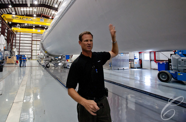 SpaceX's ____ discusses the Falcon 9 rocket in Launch Complex 40  hangar at  Cape Canaveral, Florida.