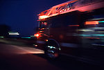 Fire engine blurred as it drives to an emergency