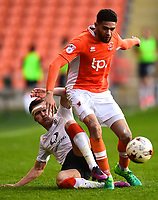 Luton Town's Dan Potts tackles Blackpool's Kelvin Mellor<br /> <br /> Photographer Richard Martin-Roberts/CameraSport<br /> <br /> The EFL Sky Bet League Two Play-Off Semi Final First Leg - Blackpool v Luton Town - Sunday May 14th 2017 - Bloomfield Road - Blackpool<br /> <br /> World Copyright &copy; 2017 CameraSport. All rights reserved. 43 Linden Ave. Countesthorpe. Leicester. England. LE8 5PG - Tel: +44 (0) 116 277 4147 - admin@camerasport.com - www.camerasport.com