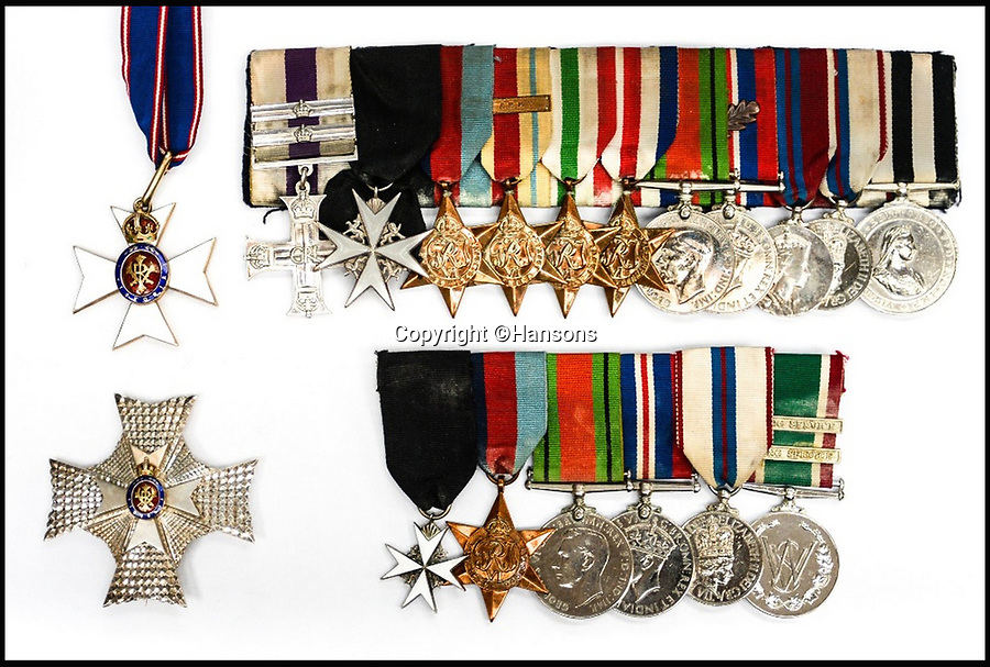 BNPS.co.uk (01202 558833)<br /> Pic: Hansons/BNPS<br /> <br /> Sir Peter Hilton's medals are on the top and his wife Lady Winifred's medals are the bottom fight set.<br /> <br /> An impressive group of Second World War medals awarded to a remarkable husband and wife have emerged for auction and are tipped to sell for &pound;10,000.<br /> <br /> Courageous Colonel Sir Peter Hilton was one of only 25 men to be awarded the Military Cross three times, while his wife Lady Winifred was a member of the Women's Auxillary Air Force who worked in special operations on radar, decoding and cyphers in Liverpool and Belfast.<br /> <br /> The supercouple - who amassed a staggering 19 medals between them - met in 1940 when Sir Peter was billeted in Matlock, Derbyshire, after being evacuated from Dunkirk. They got married two years later.
