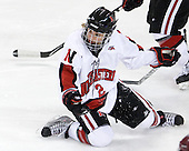 Dani Rylan (NU - 2) - The Harvard University Crimson defeated the Northeastern University Huskies 4-3 (SO) in the opening round of the Beanpot on Tuesday, February 8, 2011, at Conte Forum in Chestnut Hill, Massachusetts.