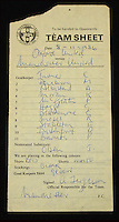 BNPS.co.uk (01202) 558833<br /> Pic: HAldridge/BNPS<br /> <br /> A little piece of history...<br /> <br /> The official team sheet from Alex Ferguson's first ever game as Manchester United manager has come to light...and the historic scrap of paper is now being sold at auction.<br /> <br /> The team's away game to Oxford United on 8th November 1986 was the legendary Scottish managers first match in charge of the struggling club, after the sacking of Ron Atkinson the previous week.<br /> <br /> The team line-up, hand written and signed by Ferguson, would probably test some of the finest trivia experts in the land, with none of the famous names of later years yet appearing.<br /> <br /> HAldridge in Devizes, Wiltshire are selling the unique item with a &pound;2000 estimate.